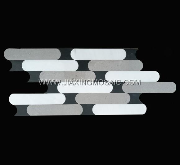 Ariston+Cinderella Grey+Nero Marquina Marble Waterjet Mosaic(JX-WJ081)