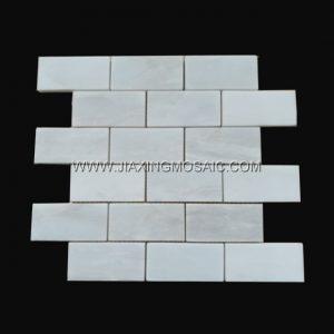 """Namibia White Polished Marble Mosaic 2 x 4 """" Brick Marble Mosaic Tile"""