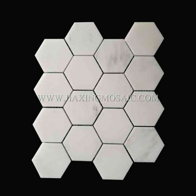 Eastern White Polished 73mm Hexagon Marble Mosaic Tile