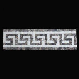 Crema marfil Marble and Emperador Marble Border Mosaic Tile