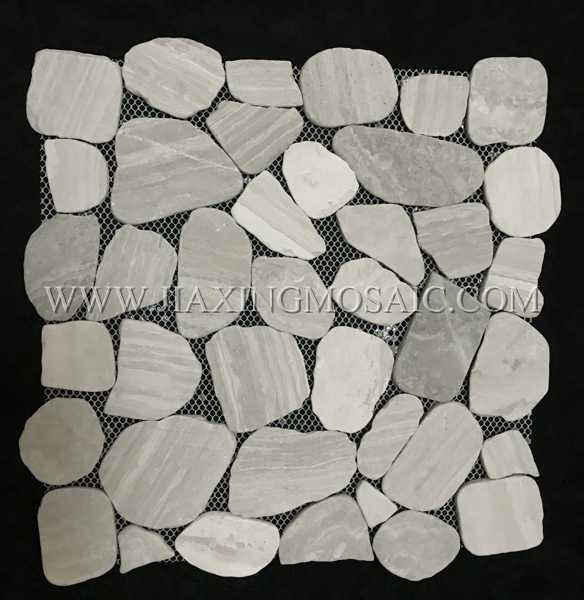 Wooden White Pebble Shaped Polished Marble Mosaic Tile