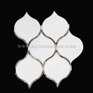 Black Lip Shell + Oriental White (White) Waterjet Mosaic Natural Stone Marble Wall Tile