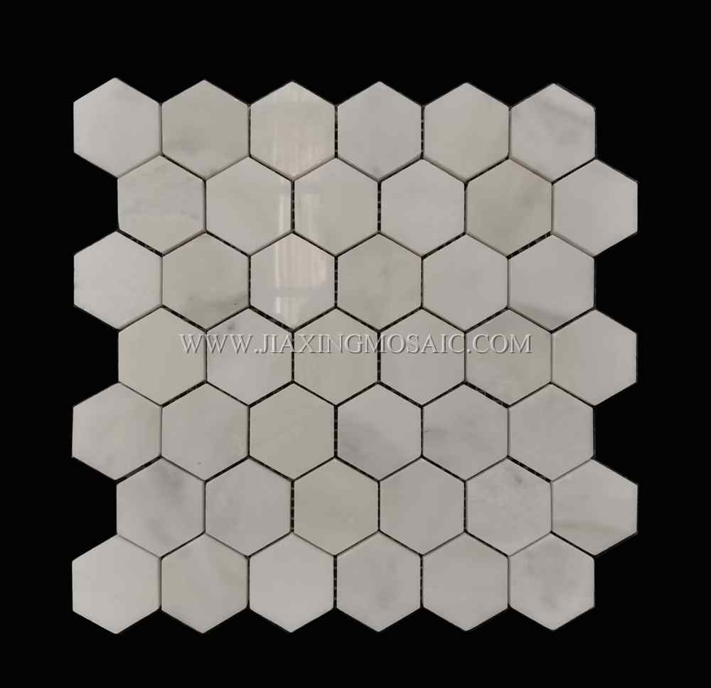 Eastern White Hexagon Polished Marble Mosaic Tile