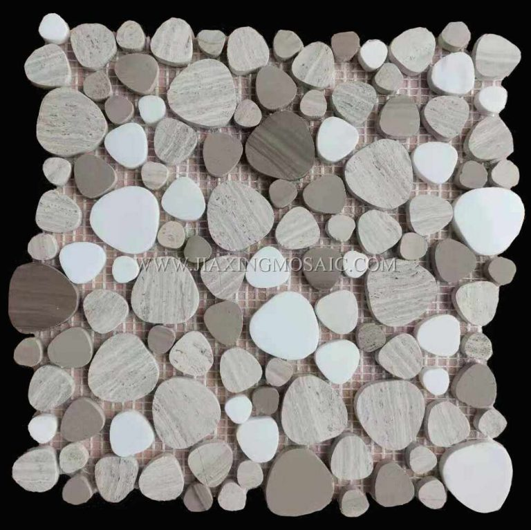 Wooden White Flat Pebble Polished Marble Mosaic Tile