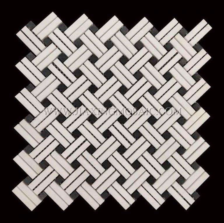 Thassos White Marble Basketweave Mosaic